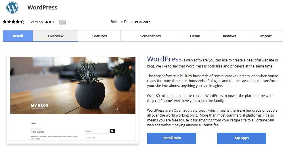WordPress namestitev